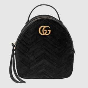 Gucci Black Velvet Matelassé GG Marmont Backpack Bag