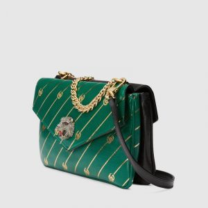 Gucci Black/Emerald Green Stripe Medium Double Shoulder Bag