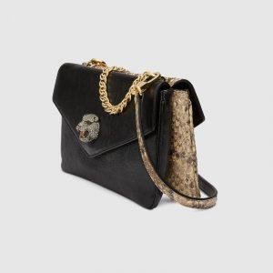 Gucci Black/Natural Python Medium Double Shoulder Bag