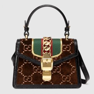 Gucci Brown GG Velvet Sylvie Mini Top Handle Bag