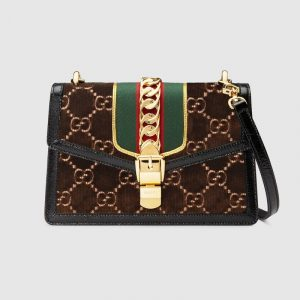 Gucci Brown GG Velvet Sylvie Small Shoulder Bag