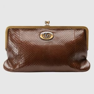 Gucci Brown Python Ophidia Clutch Bag