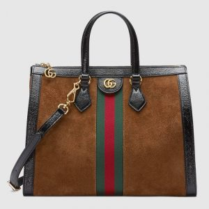 Gucci Chestnut Suede Ophidia Medium Tote Bag
