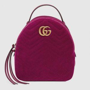 Gucci Fuchsia Velvet Matelassé GG Marmont Backpack Bag