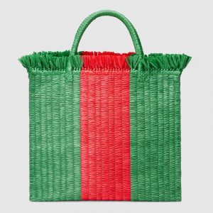 Gucci Green/Red Straw Large Top Handle Tote Bag