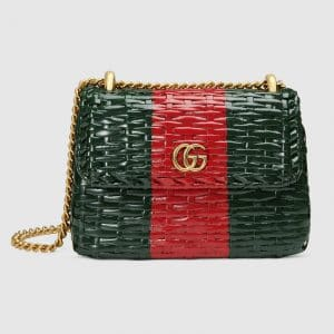 Gucci Green/Red Web Wicker Mini Shoulder Bag