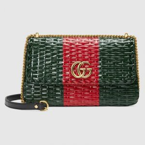 Gucci Green/Red Web Wicker Small Shoulder Bag