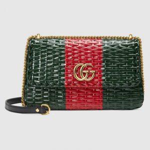 Gucci Green/Red Web Wicker Small Shoulder Bag