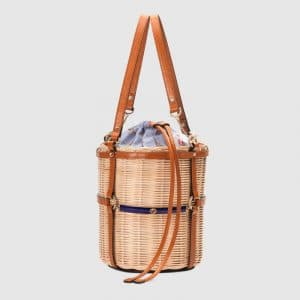 Gucci Natural Wicker Small Bucket Bag