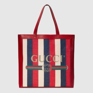 Gucci Red Sylvie Stripe Canvas Large Tote Bag