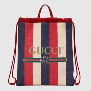 Gucci Red Sylvie Stripe Canvas Medium Drawstring Backpack Bag