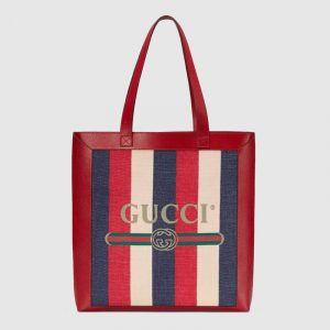 Gucci Red Sylvie Stripe Canvas Medium Tote Bag