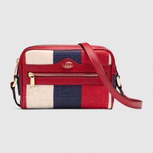 Gucci Red Sylvie Stripe Canvas Ophidia Mini Bag