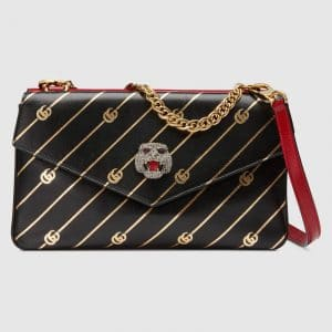 Gucci Red/Black Stripe Medium Double Shoulder Bag