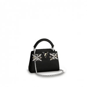 Louis Vuitton Black Crystal Embroidered Capucines Mini Bag