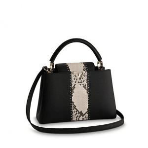 Louis Vuitton Black Taurillon/Python Capucines PM Bag