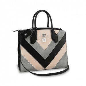 Louis Vuitton Black/Beige/Gray V Pattern City Steamer MM Bag
