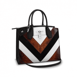 Louis Vuitton Black/White/Gold Suede/Leather:Python City Steamer MM Bag