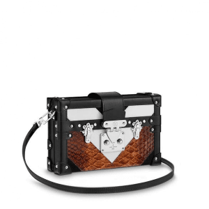 Louis Vuitton Black/White/Gold Suede/Leather/Python Petite Malle Bag