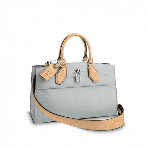 Louis Vuitton Gray Leather:Python City Steamer Bag