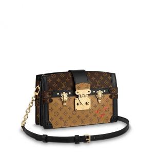 Louis Vuitton Monogram Canvas/Monogram Reverse Petite Malle Trunk Clutch Bag