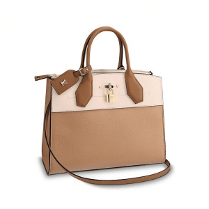 Louis Vuitton Papyrus Creme Sienne City Steamer MM Bag