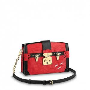 Louis Vuitton Rouge Epi Petite Malle Trunk Clutch Bag