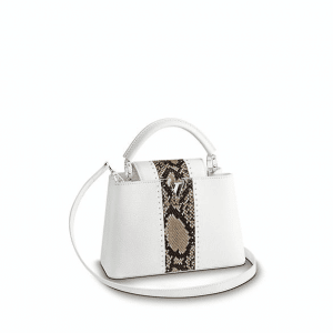 Louis Vuitton White Taurillon/Python Capucines BB Bag