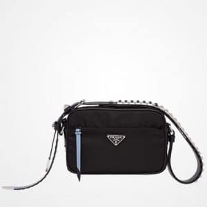 Prada Black/Astral Blue Black Nylon Mini Shoulder Bag