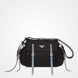 Prada Black/Astral Blue Black Nylon Shoulder Bag