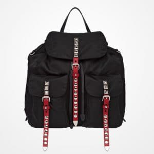 Prada Black/Fire Engine Red Black Nylon Backpack Bag