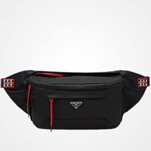 8eca9fdbce1b ... Prada Black/Fire Engine Red Black Nylon Mini Belt Bag ...