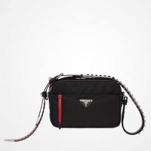 Prada Black/Fire Engine Red Black Nylon Mini Shoulder Bag