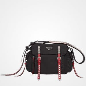 Prada Black/Fire Engine Red Black Nylon Shoulder Bag