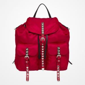 Prada Cherry Red Black Nylon Backpack Bag