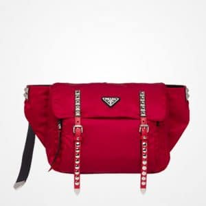 Prada Cherry Red Black Nylon Belt Bag