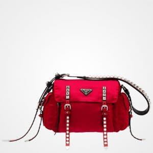 Prada Cherry Red Black Nylon Shoulder Bag