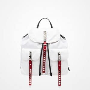 Prada White/Red Black Nylon Backpack Bag