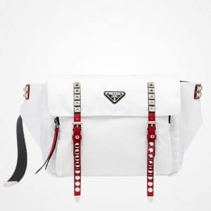 Prada White/Red Black Nylon Belt Bag