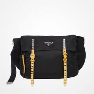 628522aecdfb ... Prada Black/Sunny Yellow Black Nylon Belt Bag ...