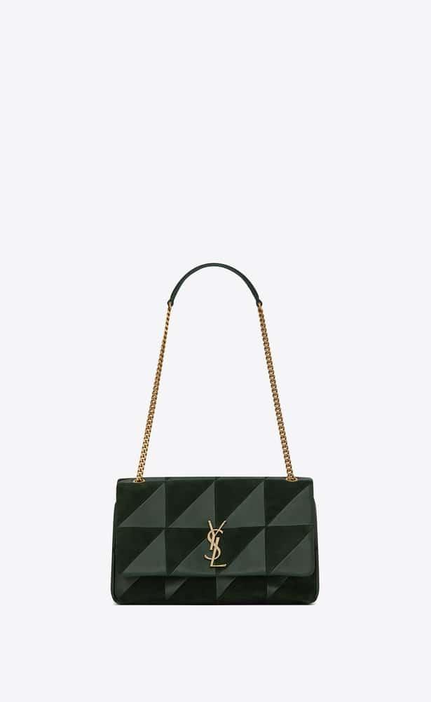 Saint Laurent Dark Green Leather Suede Patchwork Medium Jamie Bag b80a9da900648