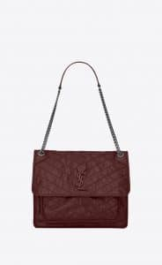 Saint Laurent Dark Red Crinkled and Quilted Large Niki Chain Bag