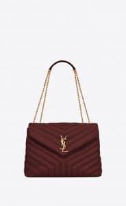 Saint Laurent Dark Red Y Quilted Loulou Medium Chain Bag