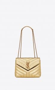 Saint Laurent Gold Crinkled Y Quilted Small Loulou Chain Bag