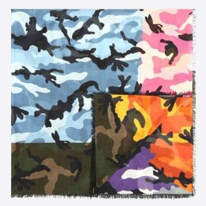 Valentino Military Green Camoushuffle Scarf