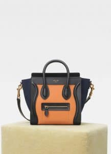 Celine Apricot/Navy Multicolour Baby Grained Calfskin Nano Luggage Bag