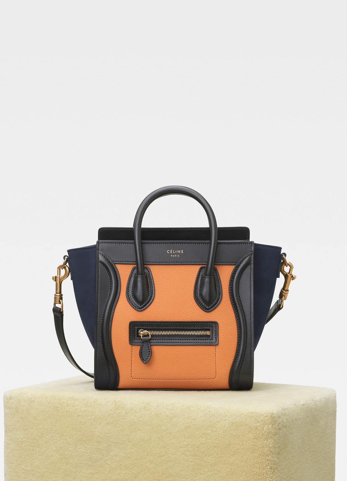 d041c4a03f Celine Apricot Navy Multicolour Baby Grained Calfskin Nano Luggage Bag