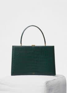 Celine Dark Green Crocodile Medium Clasp Bag