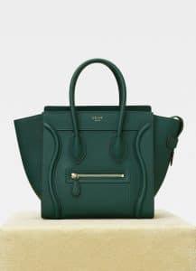 Celine Dark Green Drummed Calfskin Micro Luggage Bag