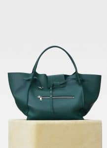 Celine Dark Green Soft Bare Calfskin Large Big Bag